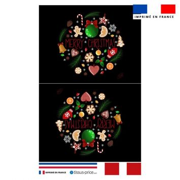Kit pochette noir motif merry christmas - Création Créasan'