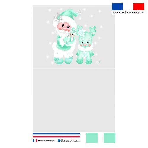 Kit pochette gris motif père noel et renne vert - Création Créasan'