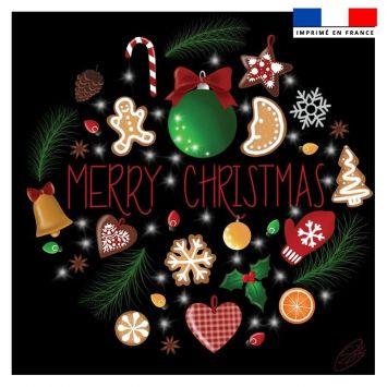 Coupon 45x45 cm noir motif merry christmas - Création Créasan'