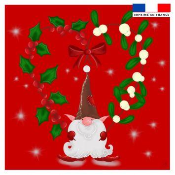 Coupon 45x45 cm rouge motif lutin - Création Créasan'