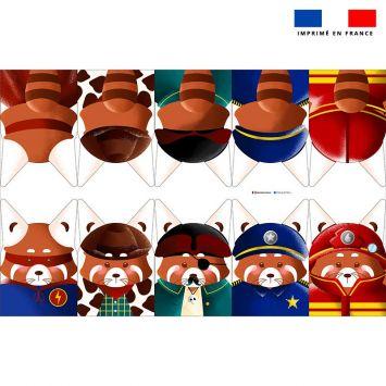 Kit mini-gants nettoyants motif panda roux super héros