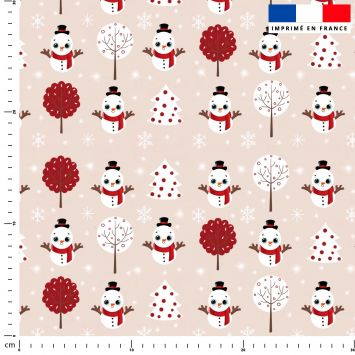 Bonhomme de neige - Fond rosé - Création Créasan'