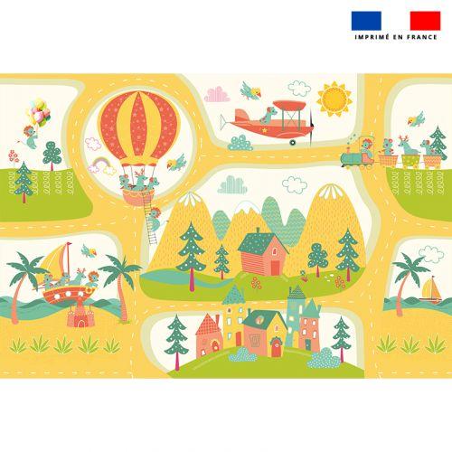 Tapis de jeu motif animaux en vacances - Fond beige
