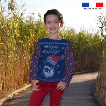 Kit pull Noel en polaire motif happy holiday