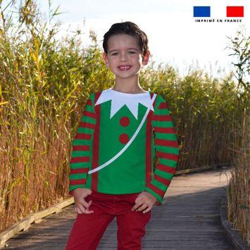 Kit pull Noel en polaire motif lutin vert