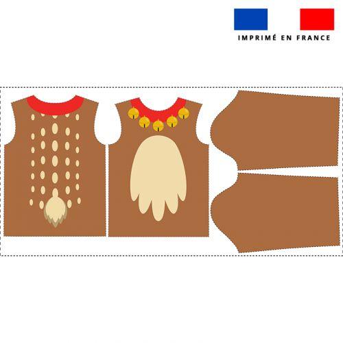 Kit pull Noel en polaire motif pelage de renne