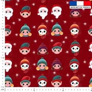 Personnages de Noel - Fond rouge - Création Créasan'