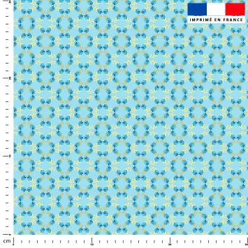 Fleur ocre - Fond bleu - Création Lita Blanc
