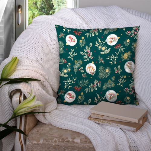 Coton vert canard motif gui de noel Oeko-tex