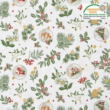 Coton blanc motif gui de noel Oeko-tex