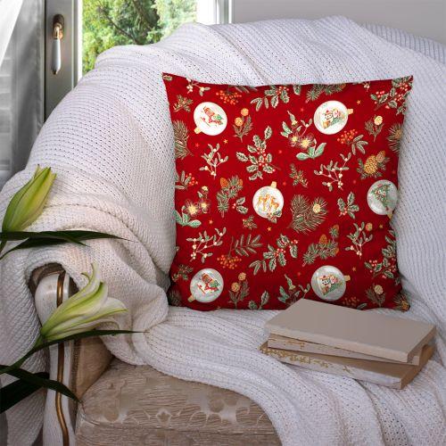 Coton rouge motif gui de noel Oeko-tex