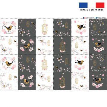 Coupon microfibre pour lingettes lavables motif cage à oiseaux Oeko-tex