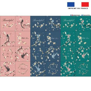 Coupon microfibre pour lingettes lavables motif fleur de cerisier Oeko-tex