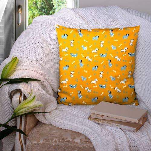 Chien bleu - Fond orange clair