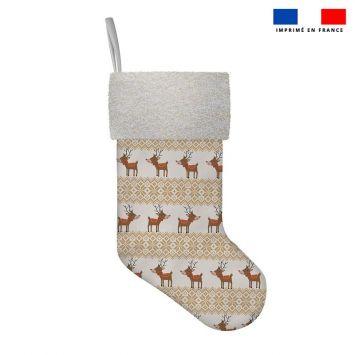 Kit chaussette de noel motif renne scandinave
