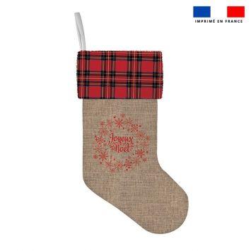 Kit chaussette de noel motif tartan effet toile de jute