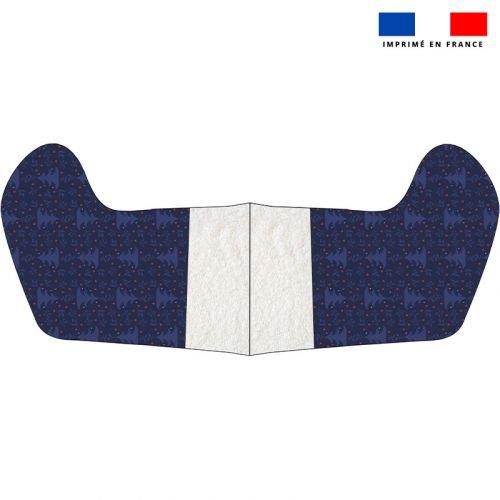 Kit chaussette de noel bleu motif sapin et étoile rouge