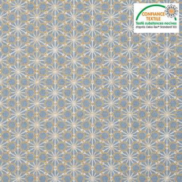 coupon - Coupon 29x126cm - Coton bleu glacier motif asanoha doré