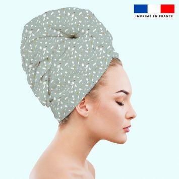 Coupon éponge pour serviette turban cheveux motif tiles vert - Création Anne Clmt