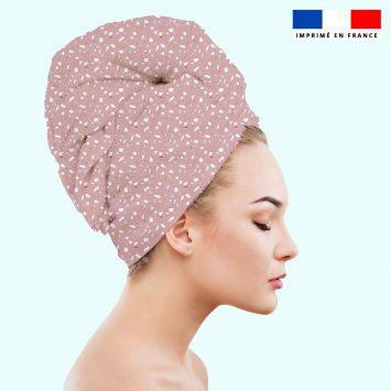 Coupon éponge pour serviette turban cheveux motif tiles rose - Création Anne Clmt