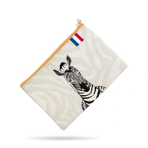 Kit pochette motif tête de zèbre blanc et noir - Création Anne Clmt