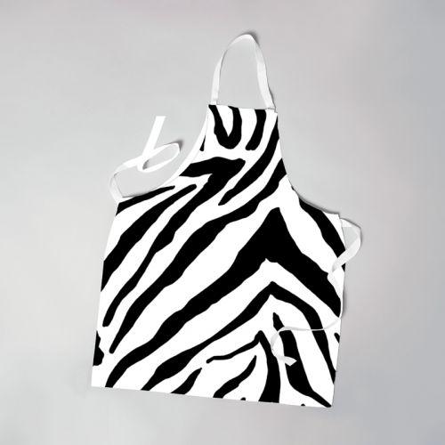 Patron imprimé pour tablier motif zèbre blanc et noir - Création Anne Clmt