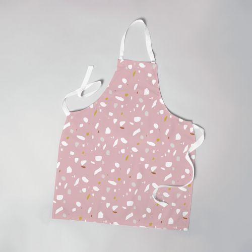 Patron imprimé pour tablier motif tiles rose - Création Anne Clmt