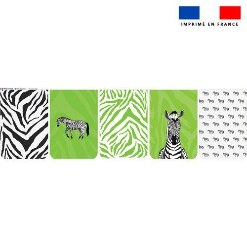 Lot de 5 coupons éponge pour serviettes de table pour enfant motif zèbre vert - Création Anne Clmt