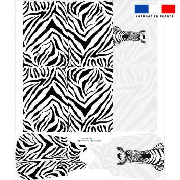 Coupon motif zèbre blanc et noir - Gigoteuse et Tour de Lit - Création Anne Clmt