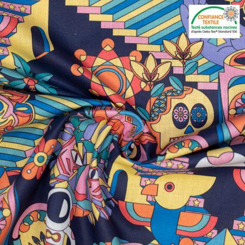 coupon - Coupon 85cm - Coton bleu nuit motif alebrije multicolore malala Oeko-tex