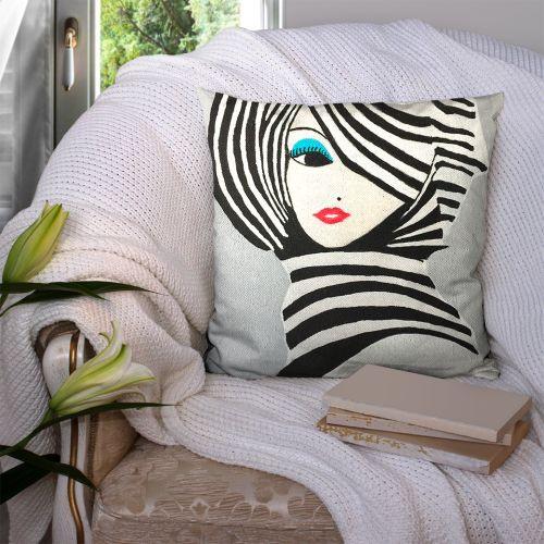 Coupon 45x45 cm motif portrait féminin - Création Lilou L