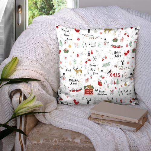 coupon - Coupon 125x50cm - Merry christmas et happy new year - Fond blanc - Toile coton Oeko-tex 200 gr/m² - 140 cm