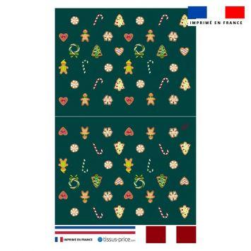 Kit pochette bleu canard motif gourmandise - Création Créasan'