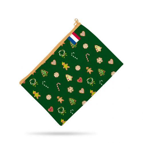 Kit pochette vert motif gourmandise - Création Créasan'