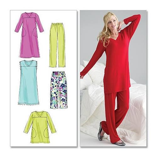 Patron Mc Calls M6474 : Haut, chemise de nuit, tunique, pantalon Taille : 46-52