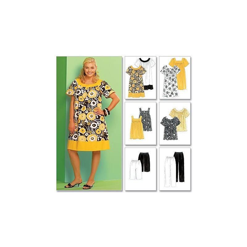 Patrons McCall's M5640 : Haut, robe, short, pantalon, corsaire Taille : 54-60