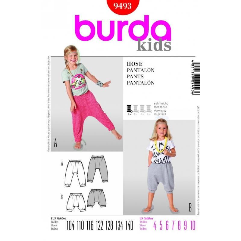 Patron N°9493 Burda kids : Pantalon Taille : 104-140