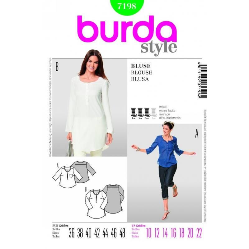 Patron N°7198 Burda : blouse Taille : 36-48