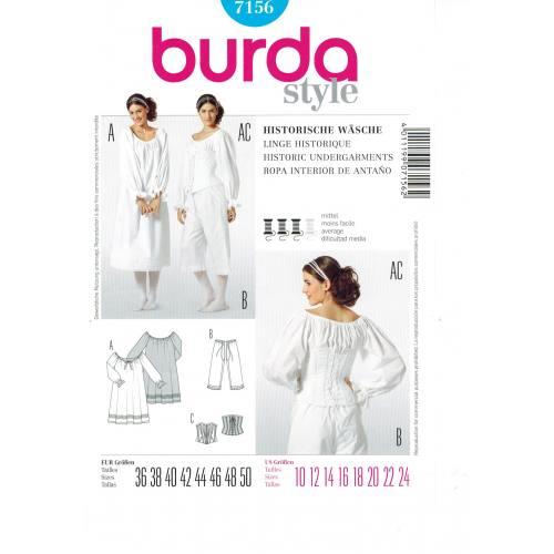 Patron N°7156 Burda Historique : Sous-Vêtements Femme Taille : 36-50