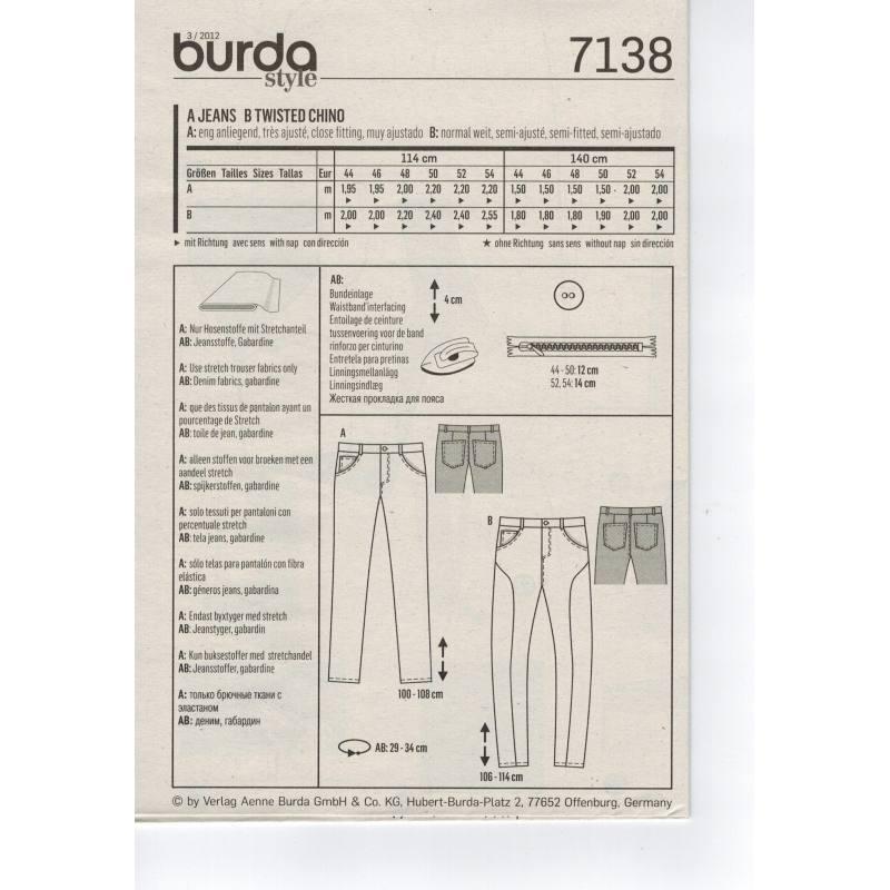 Patron Burda N°7138 : Jean homme Taille : 44-54