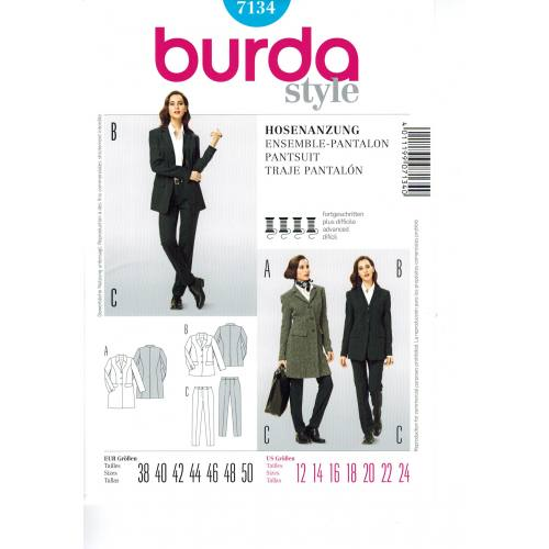 Patron Burda N°7134: Veste & Pantalon Taille : 38-50