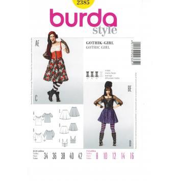 Patron Burda 2385 :Carnaval gothic-girl Taille : 34-42