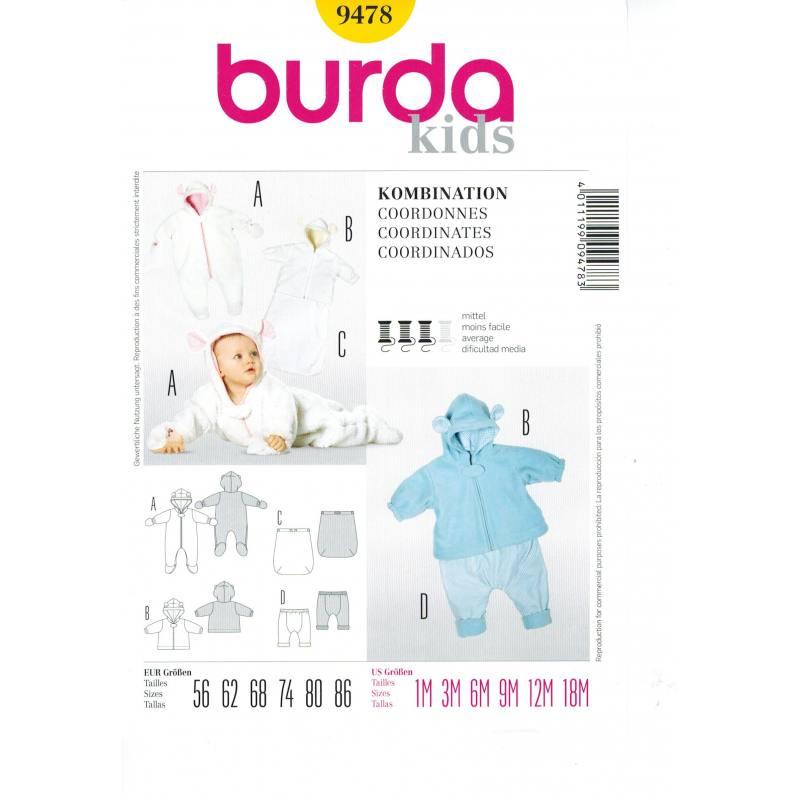 Patron N°9478 Burda Kids: Coordonnés Taille : 1-18 mois