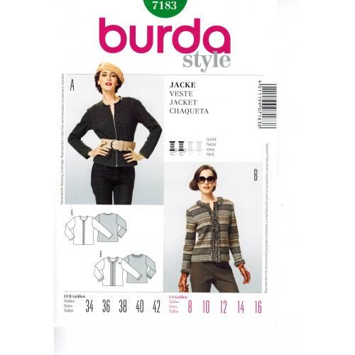 Patron N°7183 Burda Style : Veste Taille : 34-42