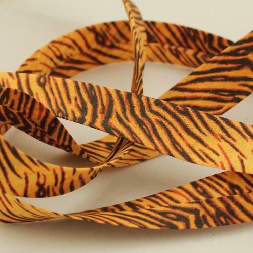 Biais replié coton motif tigre