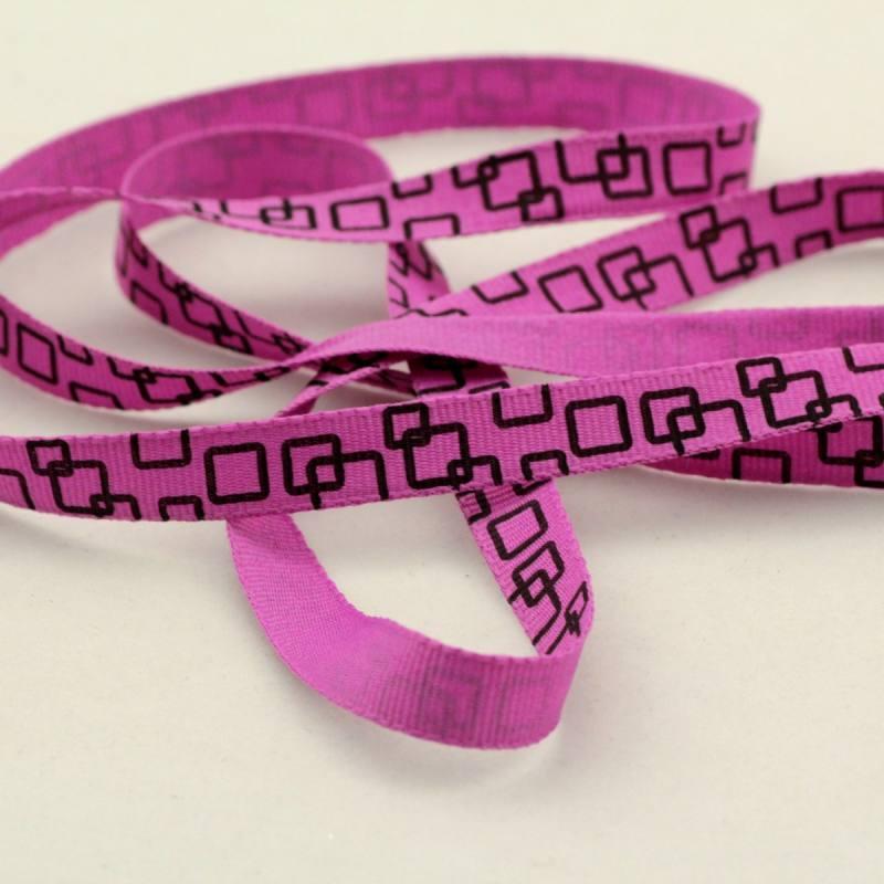 Ruban fantaisie de 10 mm - carrés violet