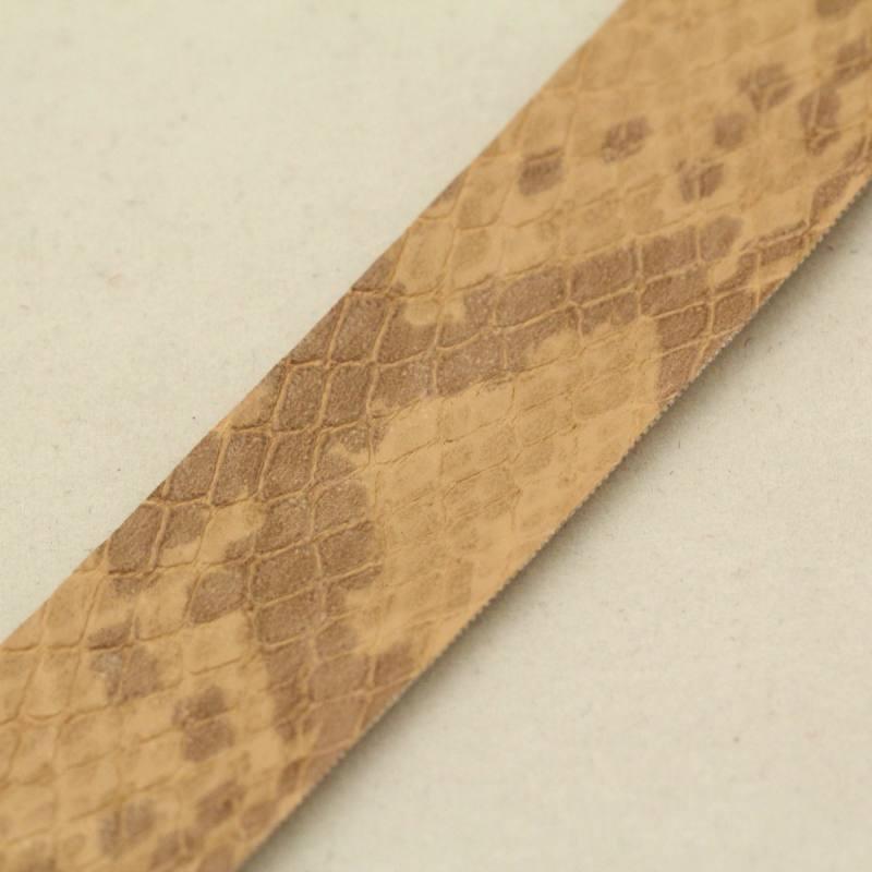 Ruban fantaisie imitation serpent beige 2 cm