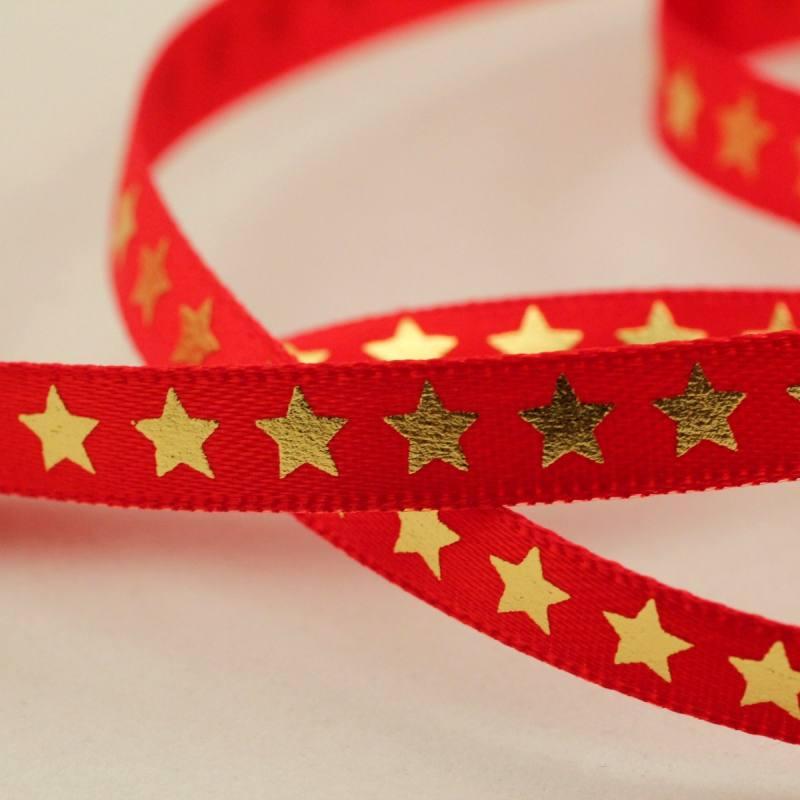 Ruban satin rouge étoiles dorées
