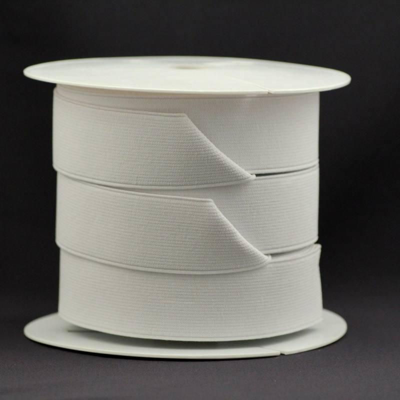 Rouleau 25m d'élastique cotelé blanc 35 mm