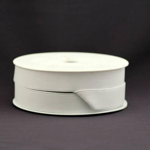 Rouleau 25m d'élastique cotelé blanc 25 mm